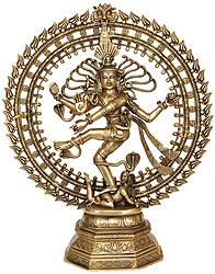 Nataraja (Pedestal Engraved with Flowers)