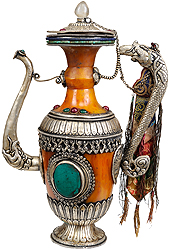 Amber Dust Ritual Kettle with Dragon Handle