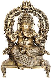 Majestic Ganesha Enshrining the Throne with Mahakala Arch