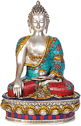Shakyamuni Buddha Invoking the Earth Goddess to be His Witness to the Attainment of Supreme Enlightenment (Inlay Statue)