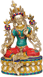 Saviour Goddess Green Tara (Inlay Statue)
