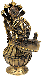 Lord Ganesha Lamp with Five-Hooded Serpent Handle, Oil Bowl and Peacock Spoon