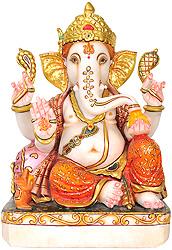 Lord Ganesha Wearing Floral Orange Dhoti
