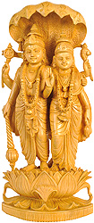 Lakshmi-Vishnu Standing on Lotus with Five-Hooded Sheshnag Canopying Atop