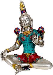 Saviour Goddess Green Tara (Inlay Statue)