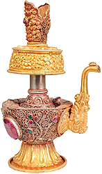 Ritual Kettle and Water Sprinkler with Filigree and  Repousse Work