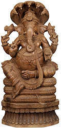 Lord Ganesha Seated on the Coils of A Serpent