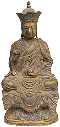 Japanese Buddha with Five Dhayni Buddhas Crown