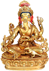 Lord Ganesha Holds a Bowl of Laddoos, Radish, Axe and Noose
