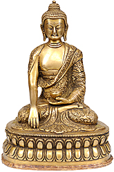 Lord Buddha with Finely Carved Robe and Dorje on the Base