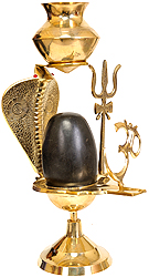 Assembly to Bath Shiva Linga with Dripping Vase for Milk