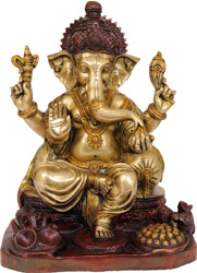 Four Armed Seated Ganesha