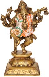 Six-Armed Dancing Ganesha with Dress