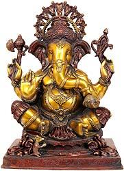 Four Armed  Ganesha Enjoying Modak
