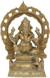 Seated Ganesha with Floral Aureole
