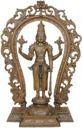 Bhagawana Vishnu with Floral Aureole