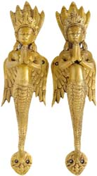 A Pair of Naga-Kanya Door Handles - An Auspicious and Protective Welcome