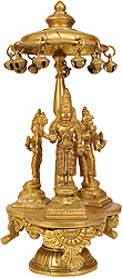 Bhagawan Vishnu with Lakshmi Ji and Bhudevi (Revolving Base)