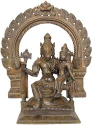 Lord Vishnu in Hayagriva Incarnation with Shri Devi