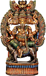 Tri-Mukha Ganesha Seated on Rat