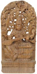 Goddess Saraswati with Floral Aureole