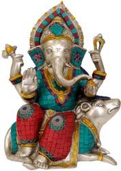 Lord Ganesha Seated on Musaka (Rat)