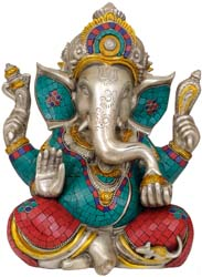 Ganesha in Red Dhoti Granting Abhaya Mudra (Gesture of Fearlessness and Reassurance)
