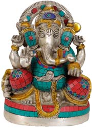 Four Armed Seated Ganesha with Trident Tilaka on His Forehead