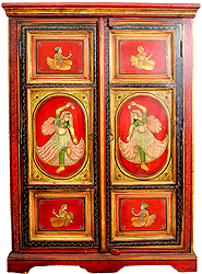 Cupboard Decorated with the Figures King and Queen with Dancing Ladies