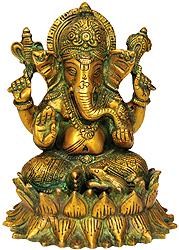 Lord Ganesha on Lotus