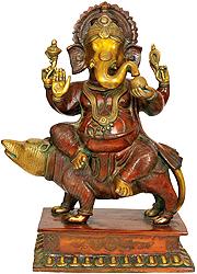 Lord Ganesha Seated on Rat
