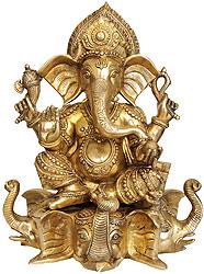 Lord Ganesha Seated on Three Elephant Head