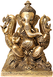 Lord Ganesha Seated Against the Backdrop of Trident