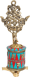 Prayer Wheel with Endless Knot (Ashtamangala)