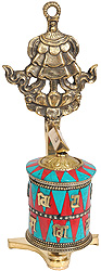 Prayer Wheel with Umbrella (Ashtamangala)
