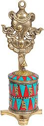Prayer Wheel with Conch (Ashtamangala)