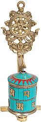 Prayer Wheel with Dharama-chakra (Ashtamangala)