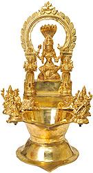 Large Wick Lamp with Goddess Mariamman, Pair of Deep Lakshmi, Lakshmi Ji, Saraswati Ji, Lord Ganesha Lord Karttikeya and Pair of Lions
