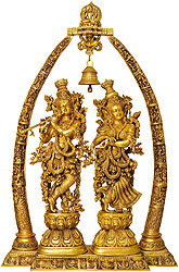 Radha Krishna with Arch Showing Krishna Leela