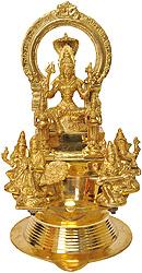 Large Wick Lamp with Goddess Mariamman, Pair of Deep Lakshmi, Lord Ganesha-Goddess Saraswati, Lord Karttikeya-Goddess Lakshmi