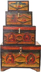 Set of Four Buddhist Monastery Boxes