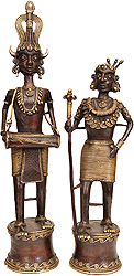 Tribal Man and Woman (Folk Statue from Bastar)