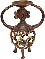 Tribal Lady Candle Stand (Folk Statue from Bastar)