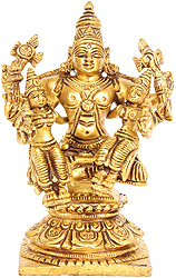 Lord Vishnu with Shridevi and Bhudevi