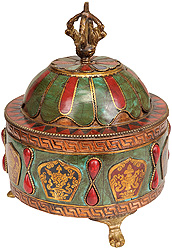 Buddhist Ritual Bowl with Lid