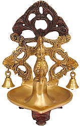 Peacock Lamp with Bells