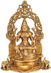 Enthroned Goddess Lakshmi with Diya