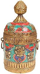 Buddhist Ritual Box with Ashtamangala Symbols