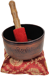 Singing Bowl Inside The Images of Buddha in Bhumisparsha Mudra
