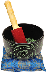 Singing Bowl with Cushion and Inside Image of Buddha Bust